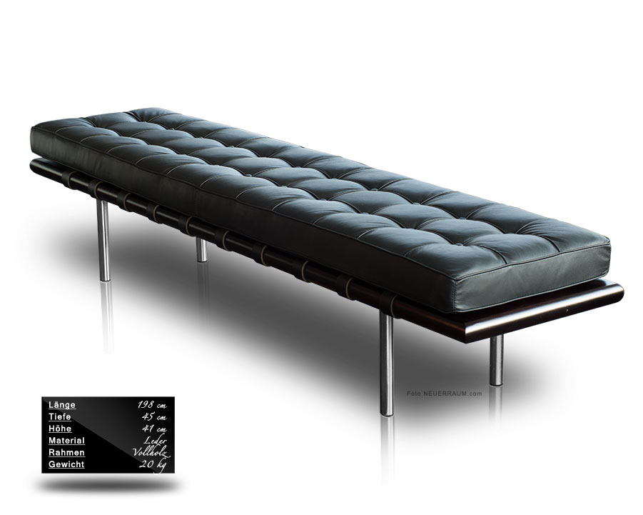 lange bauhaus leder bank sitzbank lederbank massivholz esche schwarz 200 cm ebay. Black Bedroom Furniture Sets. Home Design Ideas