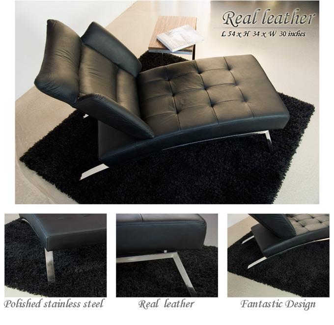 chaise longue de cuir marron noir creme ou blanc ebay. Black Bedroom Furniture Sets. Home Design Ideas