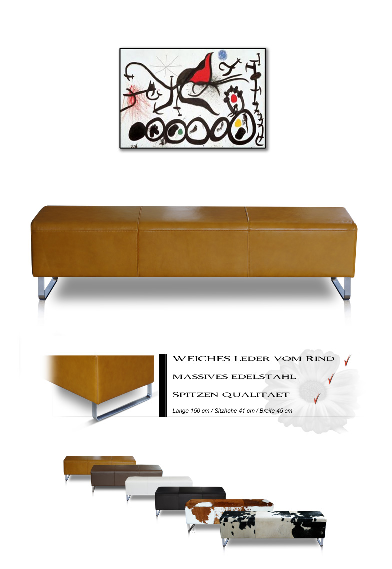 bauhaus lederbank bank sitzbank leder grau hellbraun dunkelbraun weiss schwarz ebay. Black Bedroom Furniture Sets. Home Design Ideas