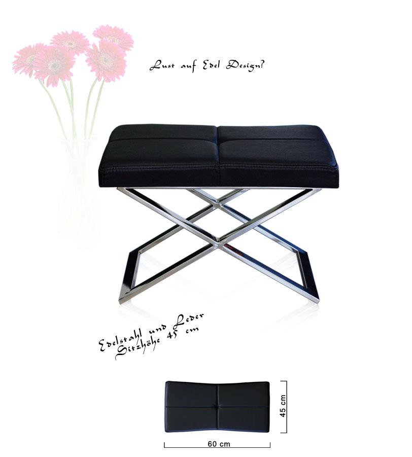 leder edelstahl bauhaus hocker sitzbank fu hocker. Black Bedroom Furniture Sets. Home Design Ideas