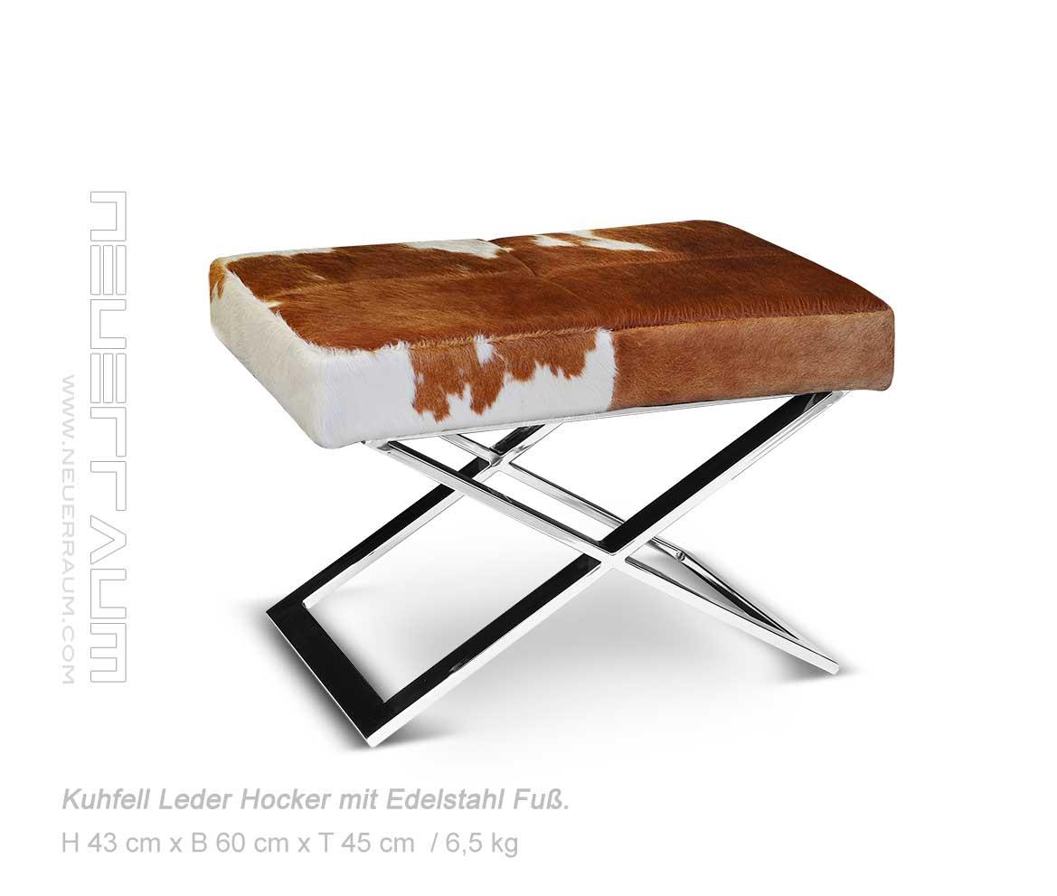 schicker bauhaus kuhfell hocker sitzhocker abb echtes. Black Bedroom Furniture Sets. Home Design Ideas