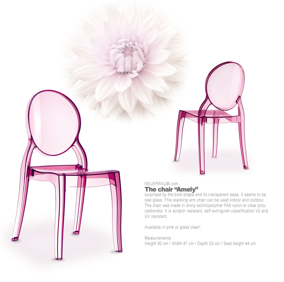 Elizabeth Ghost Acrylic Chair In Glass Clear Amber Or Pink Available Qualit
