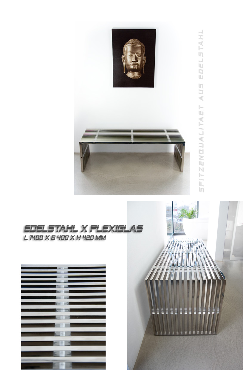 stainless steel seating bench sideboard coffee table stool ebay. Black Bedroom Furniture Sets. Home Design Ideas