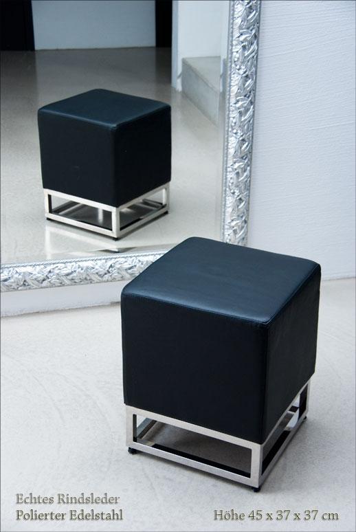 kleiner schicker bauhaus leder hocker verf gbar in 4. Black Bedroom Furniture Sets. Home Design Ideas