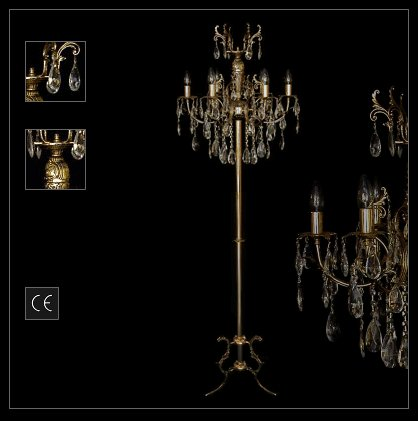details about standing chandelier floor light lamp with real crystals. Black Bedroom Furniture Sets. Home Design Ideas