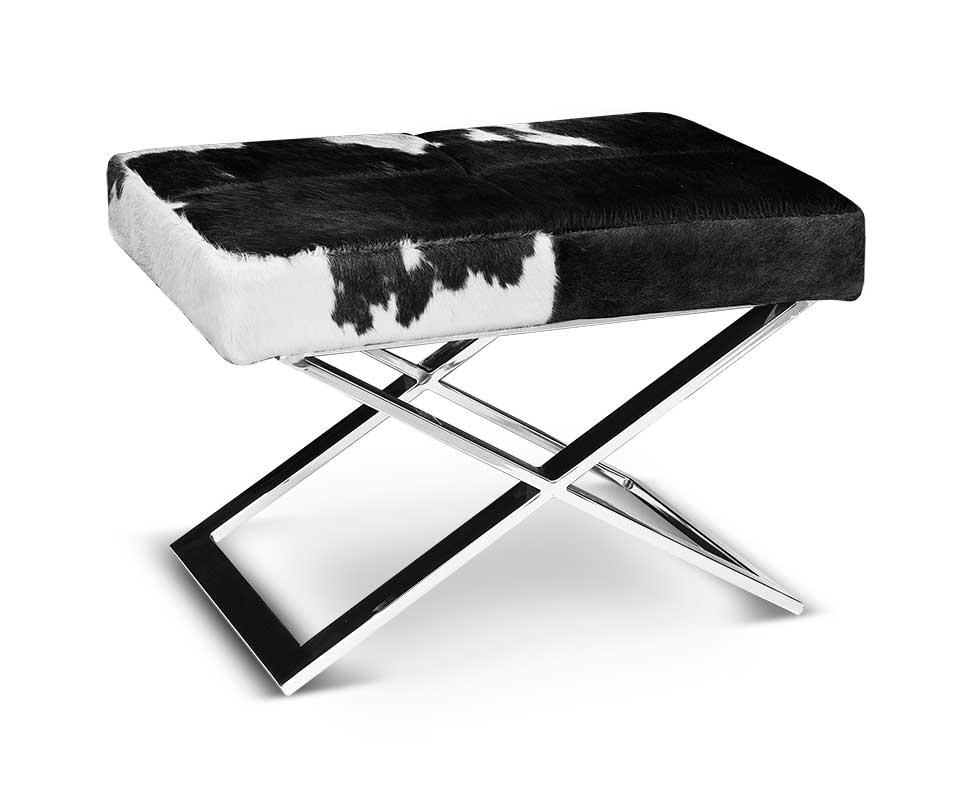 schicker bauhaus kuhfell hocker sitzhocker abb echtes kuhfell schwarz wei. Black Bedroom Furniture Sets. Home Design Ideas