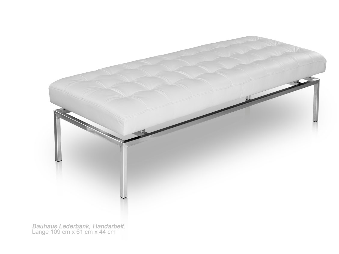 Bauhaus Leather Seating Bench 109 Cm Length Seat Height 44 Cm Real Leather White Ebay