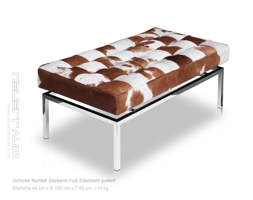 schicke bauhaus kuhfell leder sitzbank l nge 109 cm sitzh he 44 cm edelstahl ebay. Black Bedroom Furniture Sets. Home Design Ideas