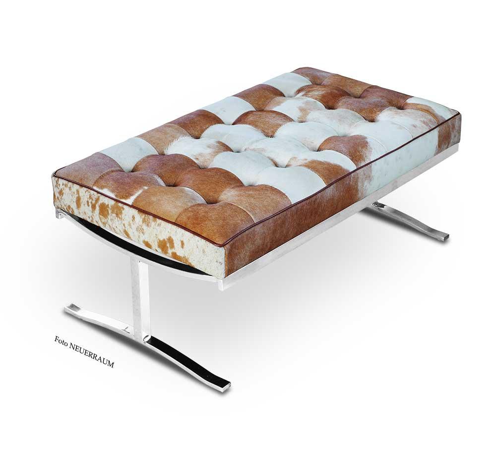 kleine schicke kuhfell bauhaus leder sitzbank verf gbar in. Black Bedroom Furniture Sets. Home Design Ideas