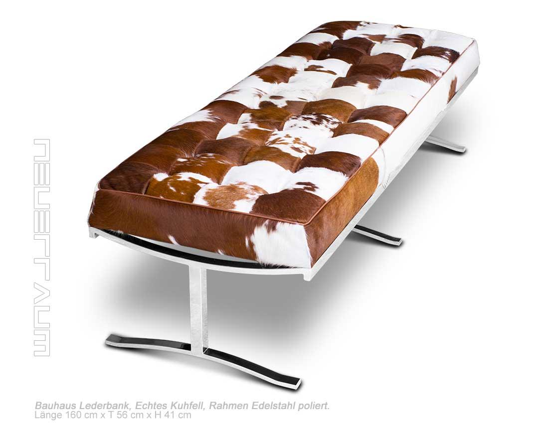 starke lange bauhaus kuhfell sitzbank bank edelstahl. Black Bedroom Furniture Sets. Home Design Ideas